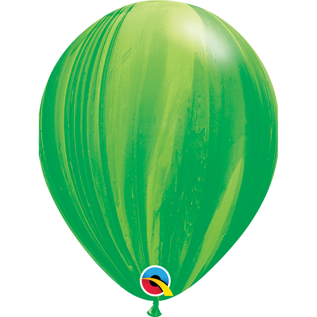 "SuperAgates Green Rainbow 11"" Balloons"