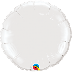 "18"" White Circular Foil Balloon"