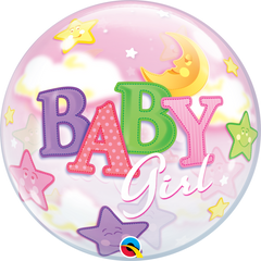 Baby Girl Moon & Stars Bubble Balloon