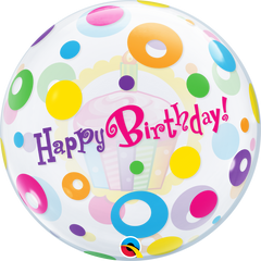 Birthday Cupcakes and Dots Bubble Balloon
