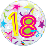 18th Birthday Bubble Balloon with Brilliant Stars & Ribbons