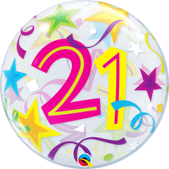 21th Birthday Bubble Balloon with Brilliant Stars & Ribbons
