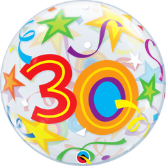 30th Birthday Bubble Balloon with Brilliant Stars & Ribbons