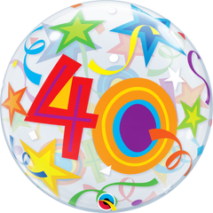 40th Birthday Bubble Balloon with Brilliant Stars & Ribbons