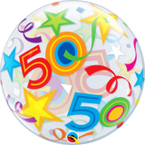 50th Birthday Bubble Balloon with Brilliant Stars & Ribbons