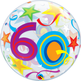 60th Birthday Bubble Balloon with Brilliant Stars & Ribbons