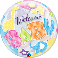 Welcome Baby Animals Patterns Bubble Balloon