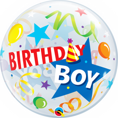 Birthday Boy Party Hat Bubble Balloon