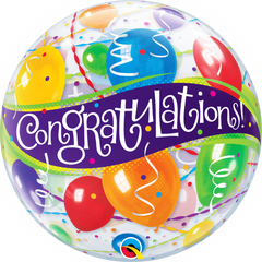 Congratulations Balloons & Ribbons Bubble Balloon