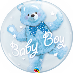 Baby Blue Teddy Bear Bubble Balloon