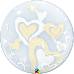 White & Ivory Floating Hearts Bubble Balloon