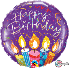 Purple Hologrpahic Birthday Balloon with Colourful Candles