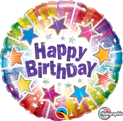 Holographic Radiant Stars Birthday Foil Balloon