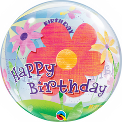 Birthday Funky Flowers Bubble Balloon
