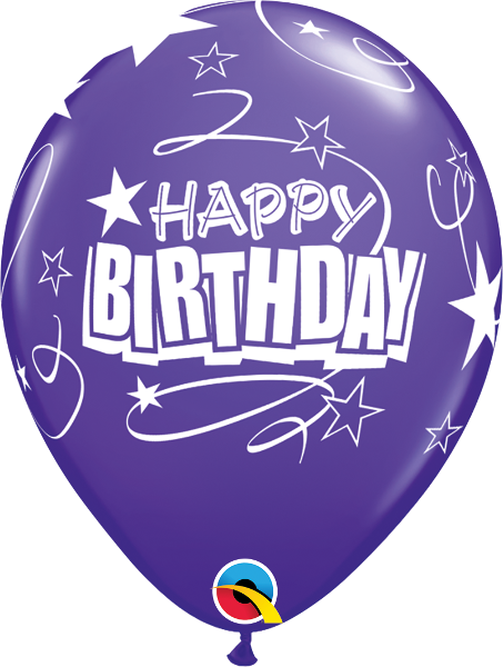 "Happy Birthday Loops & Stars Purple Violet 11"" Balloons"