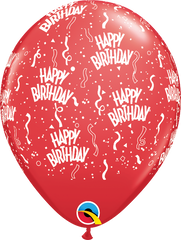 "Happy Birthday-A-Round Red 11"" Balloons"