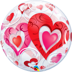 Red Hearts & Filigree Bubble Balloon