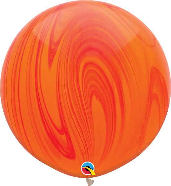 SuperAgates Red Orange Rainbow 3ft. Round Balloons