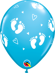 "Baby Footprints & Hearts Fashion Robin's Egg Blue 11"" Balloons"