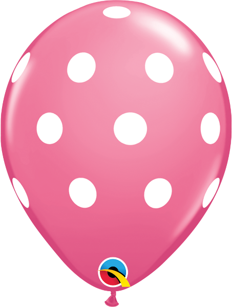 "Big Polka Dots Fashion Rose 11"" Balloons"