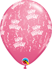 "Happy Birthday-A-Round Fashion Rose 11"" Balloons"