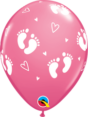 "Baby Footprints & Hearts Fashion Rose 11"" Balloons"