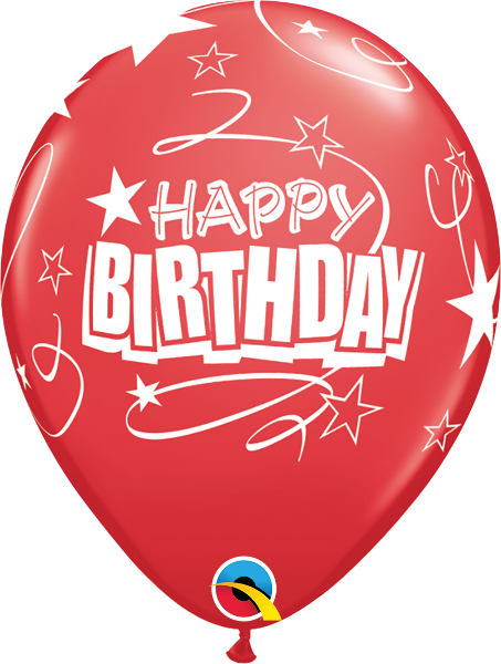 "Happy Birthday Loops & Stars Red 11"" Balloons"
