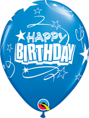 "Happy Birthday Loops & Stars Pearl Sapphire Blue 11"" Balloons"