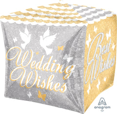 Shimmering Wedding Wishes Cube Balloon