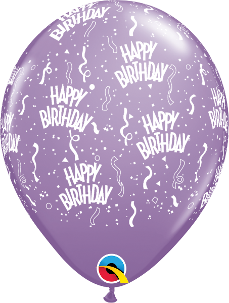 "Happy Birthday-A-Round Fashion Spring Lilac 11"" Balloons"