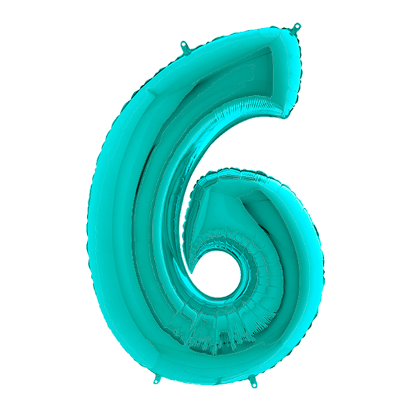 Tiffany Blue Number 6 Megaloon Balloon Numbers