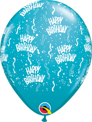 "Happy Birthday-A-Round Fashion Tropical Teal 11"" Balloons"