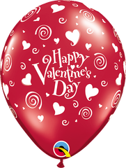 "Valentine's Swirling Hearts 11"" Jewel Ruby Red 11"" Balloons"