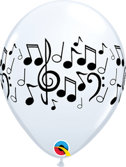 "Music Notes White 11"" Balloons"