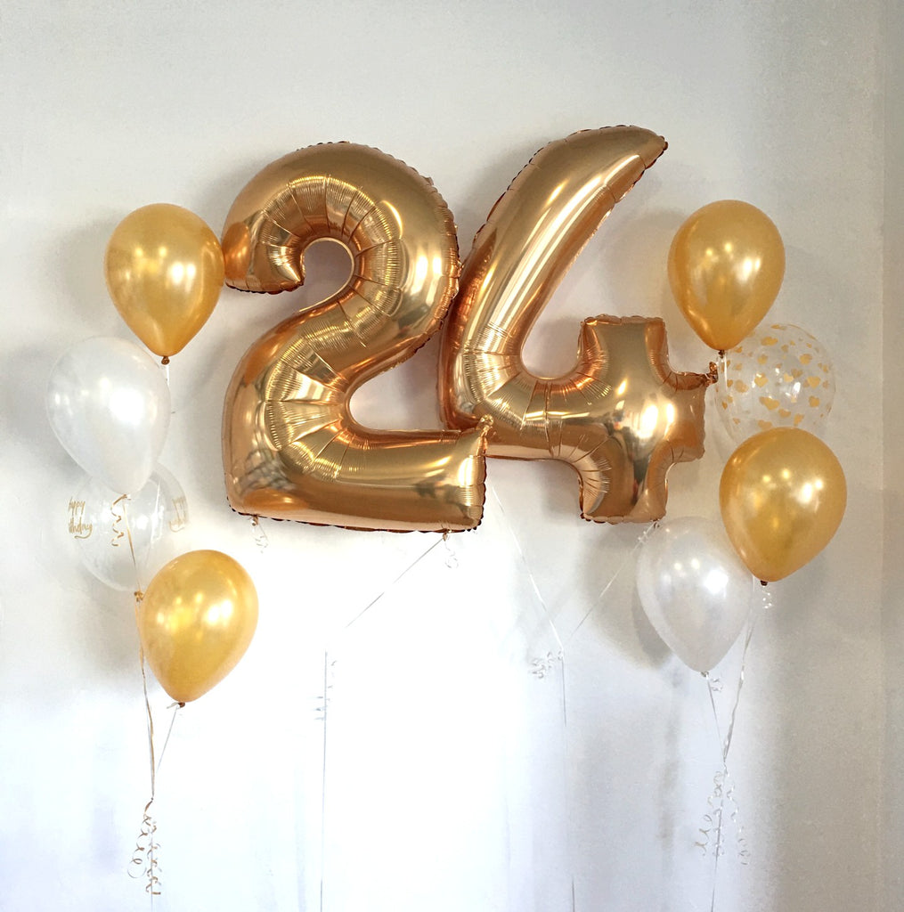 White and Gold Number Happy Birthday Balloon Package