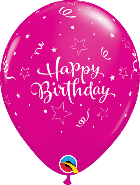 "Happy Birthday Shining Star Fashion Wildberry 11"" Balloons"