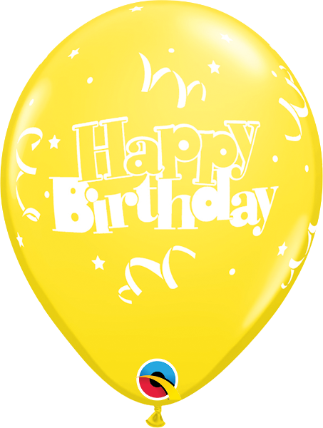 "Happy Birthday Streamers & Stars Yellow 11"" Balloons"