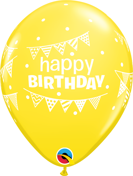 "Happy Birthday Pennants & Dots Yellow 11"" Balloons"