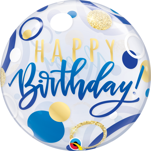 Birthday Blue Gold Dots Bubble Balloon