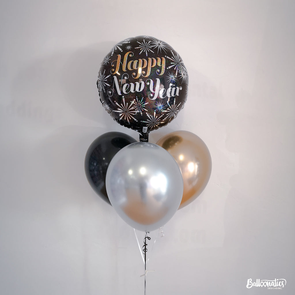 New Year Pizazz Balloon Bundle of 4 (Chrome)