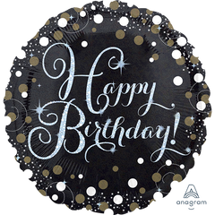 Black Sparkling Birthday Foil Balloon