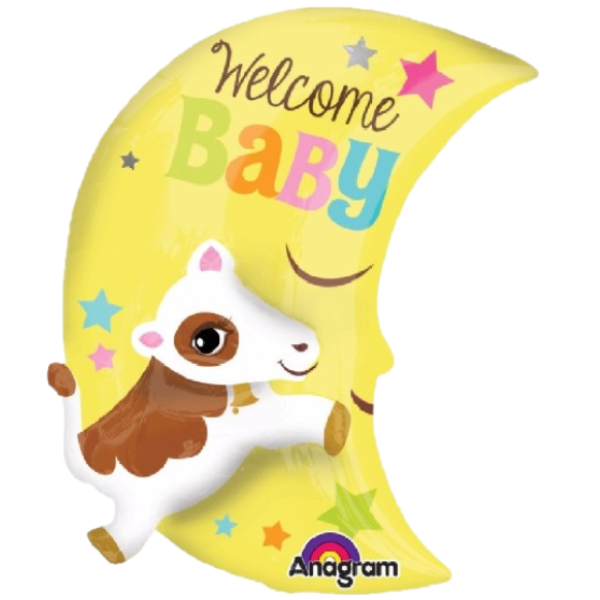 Welcome Baby Cow Over The Moon Balloon