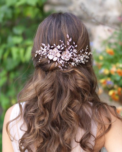 Rose Gold Floral Bridal Hair Comb