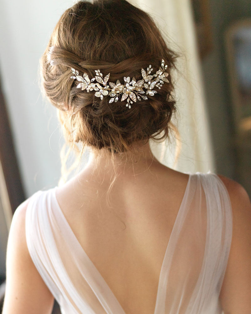 Gold Bridal Comb, Wedding Headpiece, Pearl & Rhinestone