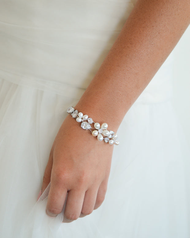 Bridal Bracelet CZ and Pearls