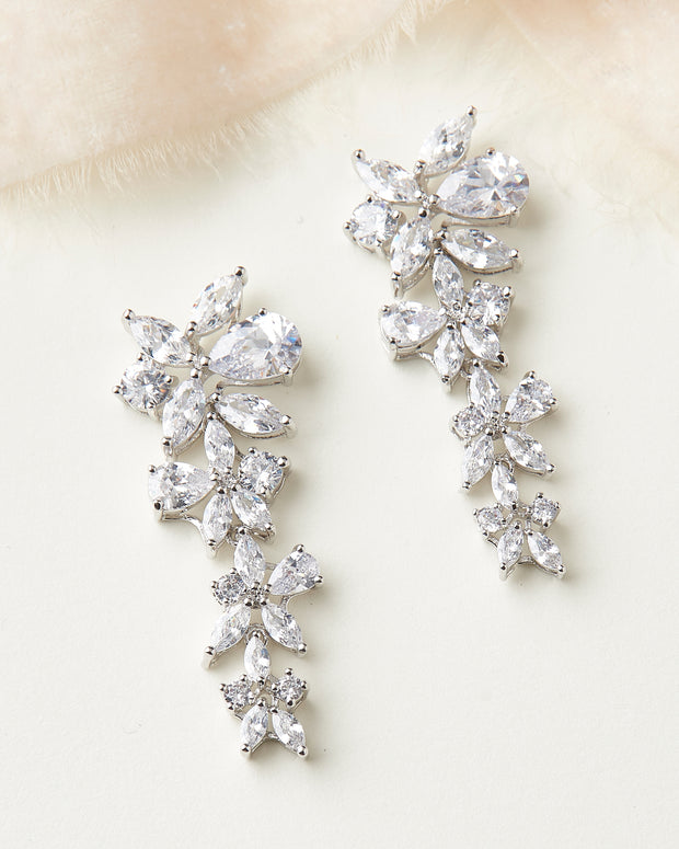 CZ Floral Drop Earrings