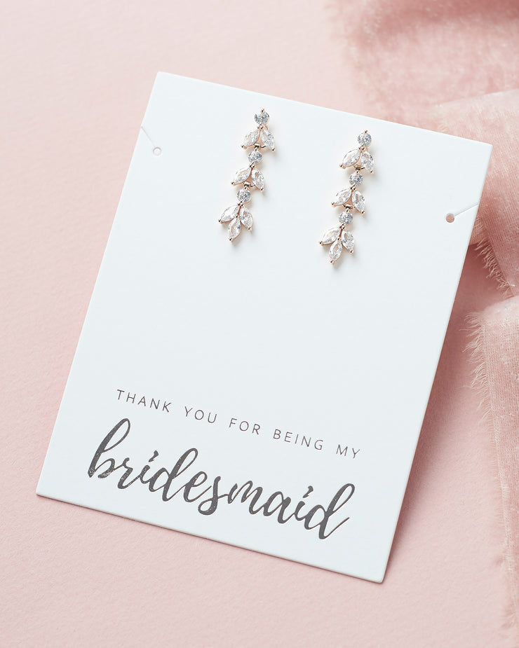 Bridesmaid Earrings CZ Rose Gold