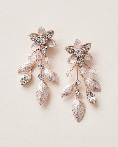 Rose Gold Floral Earrings