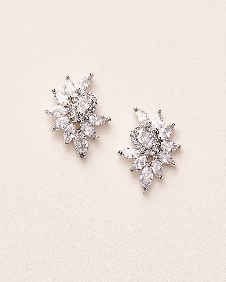 Silver CZ Bridal Stud Earrings