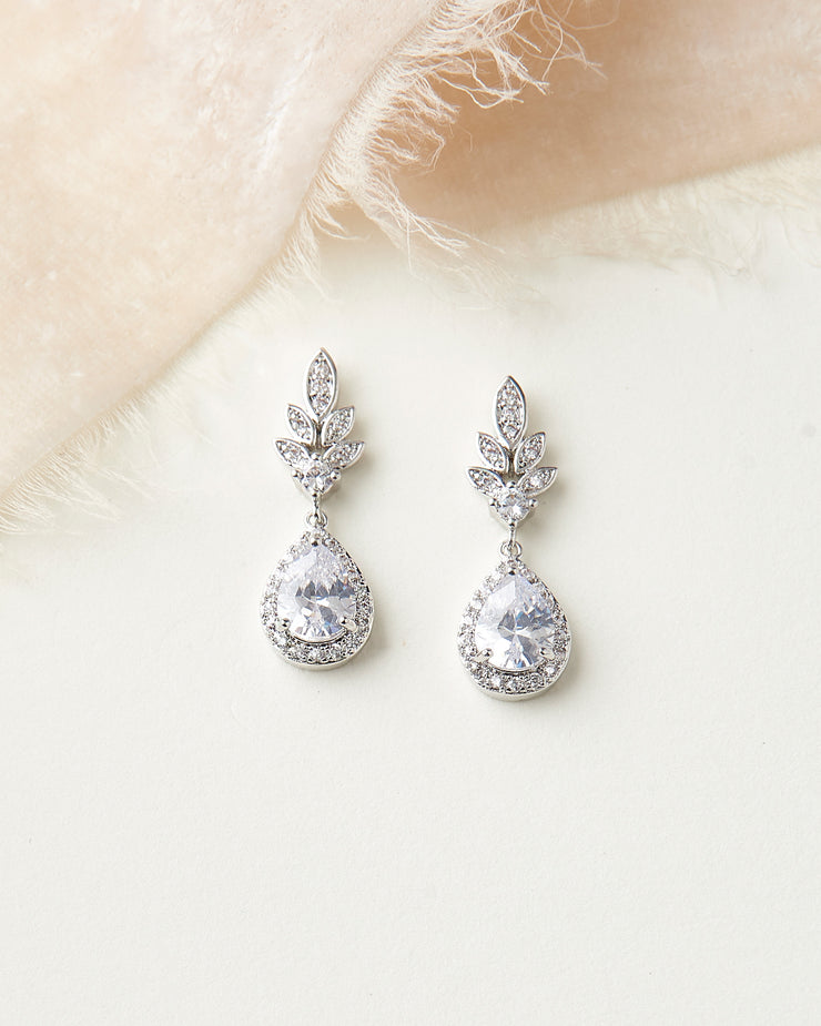 Silver Floral CZ Wedding Drop Earrings